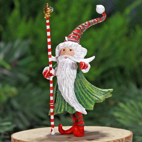 Patience Brewster Mini Santa Wizard Christmas Ornament (Wizard Staff For Sale)