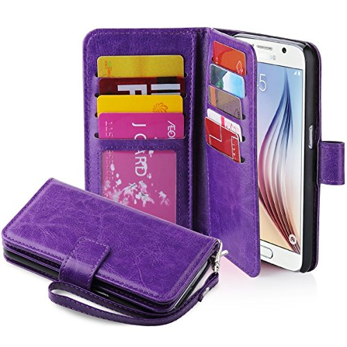 Galaxy S6 Case, Jwest Galaxy S6 Wallet Case, Premium PU Leather Case Magnetic Wallet Credit Card ID Holder Flip Cover Case with 9 Card Slots and Wrist Strap Case for Samsung Galaxy S6 Purple
