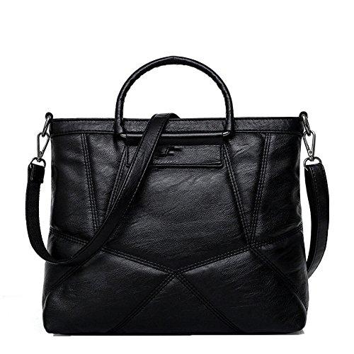 DHFUD Bolso De Hombro Del Bolso De Las Mujeres Messenger Bag Empalme Elegante De Gran Capacidad Black
