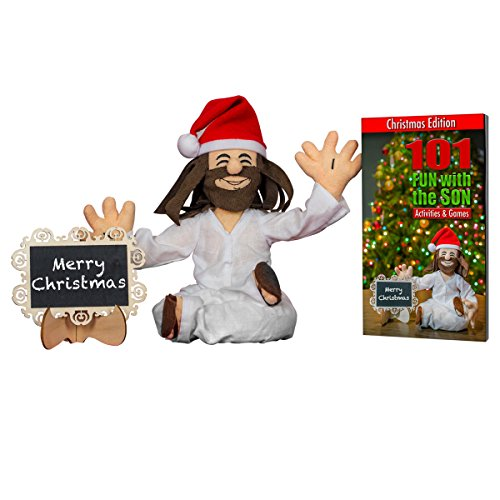 Fun With The Son - Jesus Christ Plush Doll – Spiritual Christian Teaching Toy – Son of God Plushy - Comes With Activity Book, Hat, Chalk Board &Chalk - Great Gift Idea (Jesus Christ Toy)