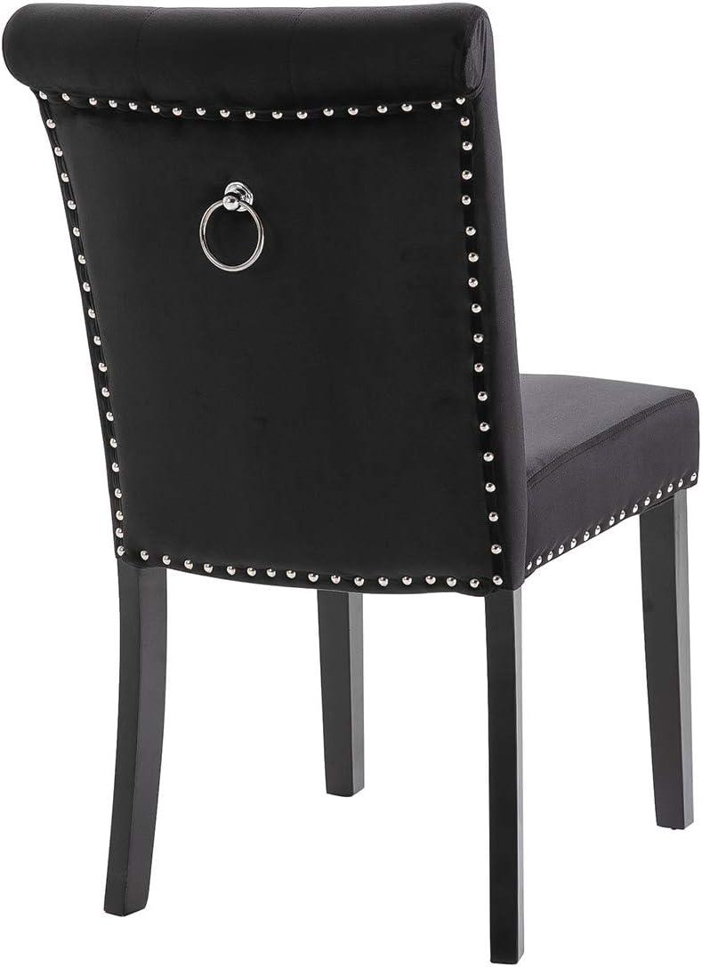lifetech Velvet Dining Chairs Set of 1/2/4 with Knocker Ring Back Velvet Upholstered Kitchen Chairs Dining Room Seat Wooden Legs (Black*4) Black*4