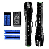 FlashDealer Led Flashlight 2 Pack High Lumen Torch with Rechargeable Battery and Charger for Camping Hiking Outdoor