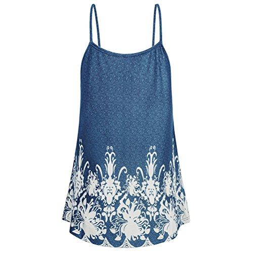 Blue Doux Bretelles de Imprim Tops Tunique Ample Camisoles t Femmes Mode Comfy Rservoir Zhuhaitf Spaghetti 6qHw8Yx