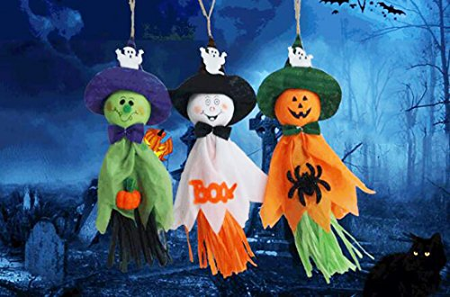 Pack of 6 Colorful Creepy Pumpkin Ghost Spider Paper Hanging Decor For Halloween Thanksgiving Bar Kindergarten Layout Party Supplies Home Decoration ()