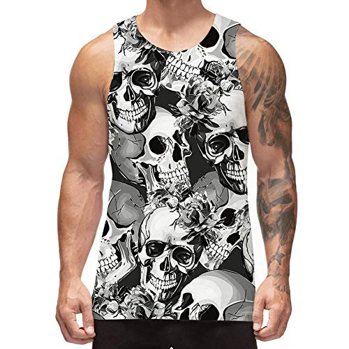 Freshhoodies Mens 3D Tank Tops Skeleton Skull Sleeveless Graphic Tee Designer Tank Tops Jersey Undershirts Monochromatic (B-Skull, Large)