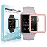 [For Series 3] SUPTMAX Screen Protector for Apple Watch, Apple Watch Series 3 Screen Protector [Soft Frame Edge] [9H Hardness] Full Coverage Carbon Fiber Screen Protector Apple Watch (42mm, Rose Gold)