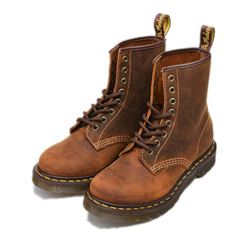 Thick wear Womens Up Couple slip Scrub Shoes BROWN Short Boots Tooling Boots Men Brown Spring NVXIE EUR45UK105 Flat Leather Winter Lace boots Martin Bottom Fall Anti Genuine Non xHIdq1