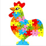Yingealy Great Fun Gift Colorful Wooden Animal Number and Alphabet Jigsaw Puzzle Educational Toy for Kids(Cock)