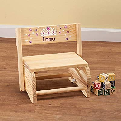 Fox Valley Traders Personalized 2-in-1 Children's Step Stool and Chair, Customized with Kid's Name, Princess Design: Kitchen & Dining