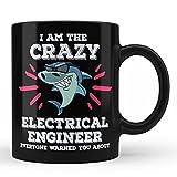 Funny Electrical Engineer Shark Job Profession Mug Gift For Electrical Engineer Black Coffee Mug By HOM
