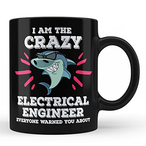 Funny Electrical Engineer Shark Job Profession Mug Gift For Electrical Engineer Black Coffee Mug By HOM by Home Of Merch
