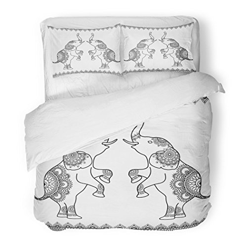 SanChic Duvet Cover Set Flower Two Elephants Standing Up Line Lace Borders in Ethnic Mehndi Indian Henna Style White Thai Decorative Bedding Set with 2 Pillow Shams Full/Queen Size by SanChic