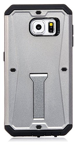 Galaxy S6, iSee Case Dual Layer Rugged Protective Cover with Built in Screen Protector and Foldable Kickstand for Samsung Galaxy S6 (Gray)