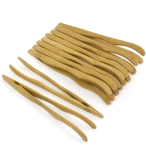 7 Reusable Bamboo Tongs, Curved Arms, Carbonized Brown - by BambooMN - 10 Pieces - Toast Tongs