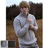 100% Irish Merino Wool Half Zip Aran Sweater, Oatmeal,Large
