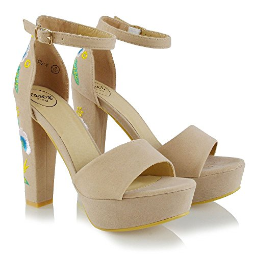 ESSEX GLAM Womens Platform Heel Ankle Strap Sandals Flower Embroidered Shoes Ladies Party Court Shoes Nude 6nGZaivEX