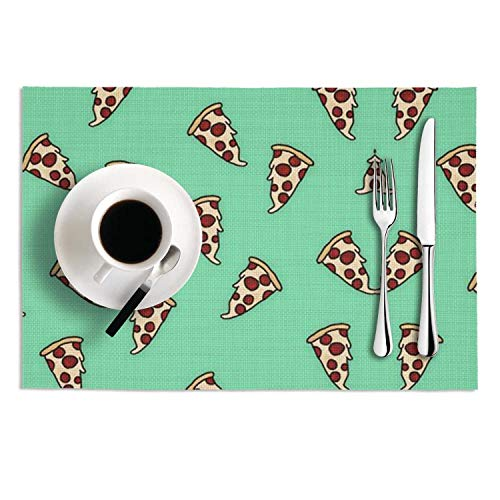 Set Of 2 Placemats 12X18 PVC Woven Vinyl Pizza Art Print Heat-Resistant Stain Resistant Non-Slip Table Mat For Kitchen Dining Coffee -
