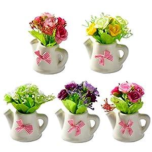 HATABO Vase with Artificial Flowers Rose Mini Artificial Rose Flowers Fake Flower for Wedding Garden Farmhouse Flores Artificial Mini Rose+Ceramic Small Pot vase Bonsai Rose (Random) 52
