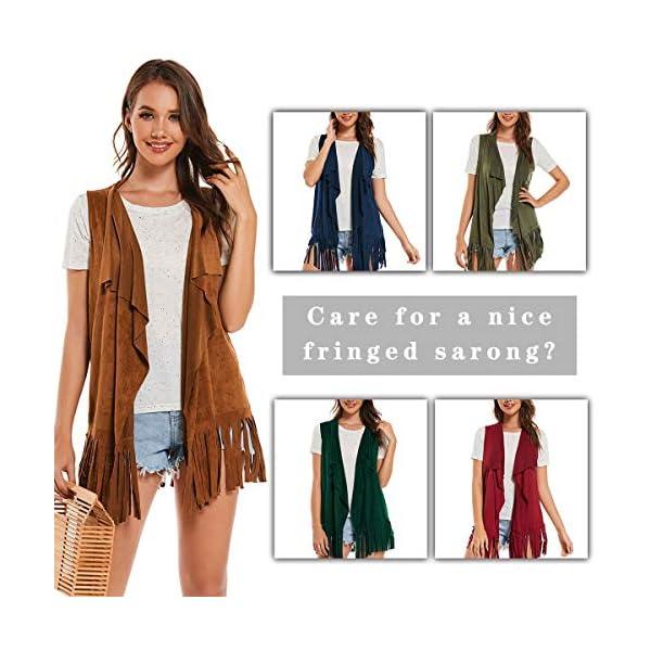 AS ROSE RICH Fringe Vest Vintage Hippie Look - Faux Suede Cardigan - Ethnic Tassels Top Female