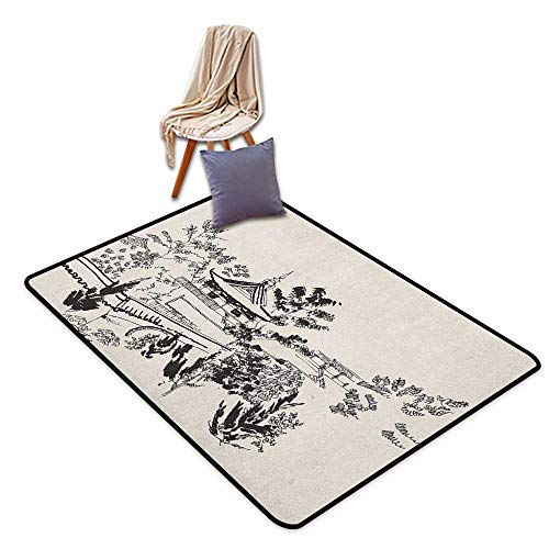 (Oversized Floor Rug Ancient China Hand Drawn Illustration of Temple in Town of Dali Yunnan Province Monastery Children's Rug W6'xL7')
