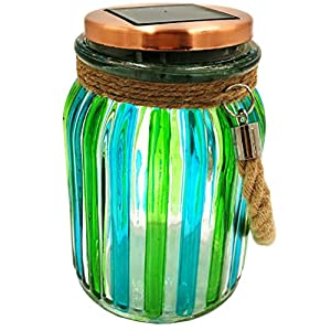 51151H nPSL. SS300  - Sogrand Green Stripe Copper Cap Glass Jar, Solar Lights Outdoor, Thick Hanger