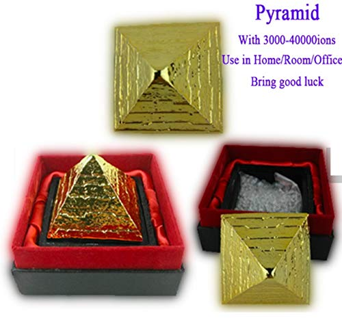 Meditation pyramid | Quantum Science Negative Ion Positive Energy pyramid | Golden Energy Pyramid With Negative Ions & Aroma earth minerals | Repels negativity | Size 55x55 mm | US Seller