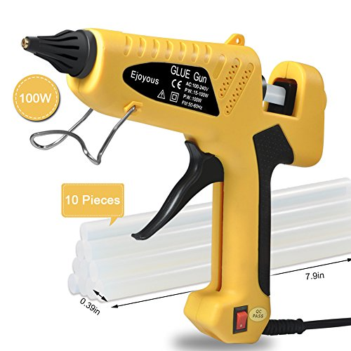 100W Hot Glue Gun, Ejoyous Professional Industrial Melt Glue Gun Kits with 10 Pcs Glue Sticks, Copper Nozzle and ON-Off Switch for DIY Small Craft Projects & Sealing and Quick Repairs (Yellow) by Ejoyous