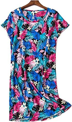 Luckytong Women's Nightgown Cotton Sleepwear Short Sleeves Cartoon Print Sleepshirt Sleep (Sleep Sleepshirt)