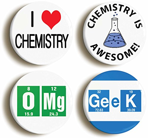Chemistry Awesome School Science Button Pin Set (Size Is 1inch (Chemist Costume Ideas)
