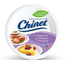 Chinet Classic White, Round Appetizer and Dessert Plates, 6.75 Inches, 70 Count
