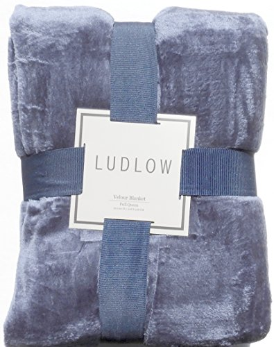 Luxurious Solid Velvet Velour Blanket Full Queen Size Midnight Blue Blue Velour Blanket