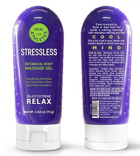 Biosavia Stressless 2.6oz 100% All Natural Muscle Relaxer for Pain Relief and Anti-Inflammatory Massage Ointment Gel - Eco-Friendly non-BPA Bottle