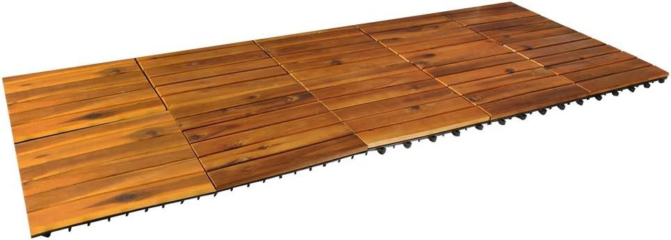 MALATEC 10er Set Holzfliesen Terrassenfliesen 30x30cm Balkon Klickfliesen Boden #5100