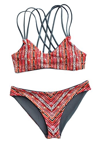 Cupshe Fashion Women's Printing Strappy Cross Back Padding Bikini Set (M), Multicolor