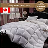 LUXURY EUROPEAN WHITE DOWN DUVET FILLED IN CANADA (Deluxe Filled, Cal King)