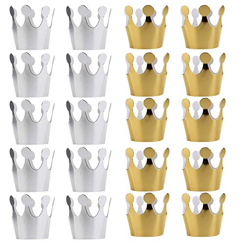 (20PCS PRALB Birthday Crown Paper Hat Princess Party Princess Party Favors for Kids, Gold/10PCS,)