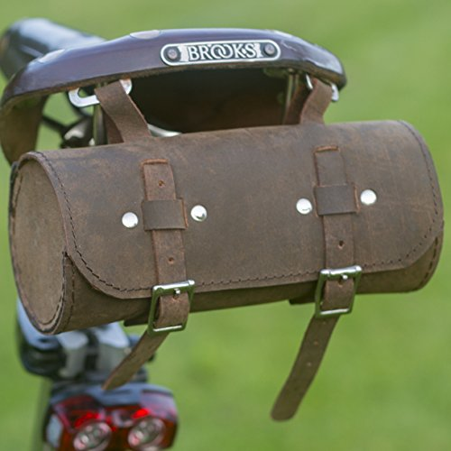Genuine Leather Saddle Bag Handlebar Frame Bag VINTAGE BROWN Tracked shipping UK MADE - Vintage Frame Bag