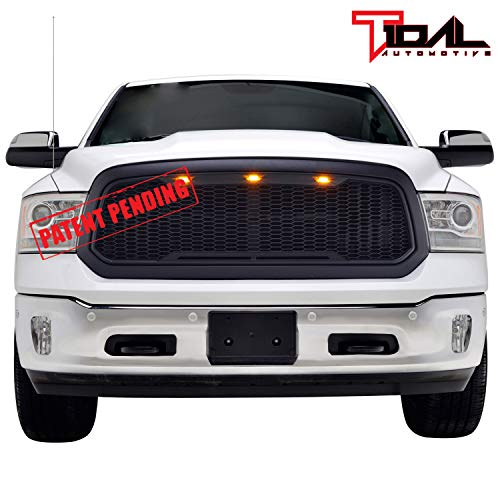 Tidal Replacement Ram Front Grille Upper Grill - Matte Black - With Amber LED Lights for 13-18 Dodge Ram 1500 (Ram Inserts Dodge Grille)