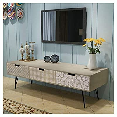 """K&A Company Entertainment Center & TV Stand, TV Cabinet with 3 Drawers 47.2""""x15.7""""x14.2"""" Gray"""