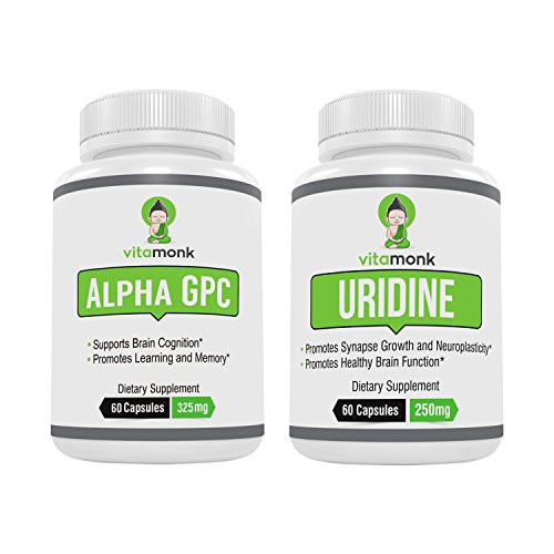 Alpha GPC + Uridine Stack - Mr Happy Stack - Uridine Monophosphate with No Artificial Fillers - Bioavailable Choline Supplements Promote Cognition, Focus, Mental Clarity and Dopamine Receptor Health