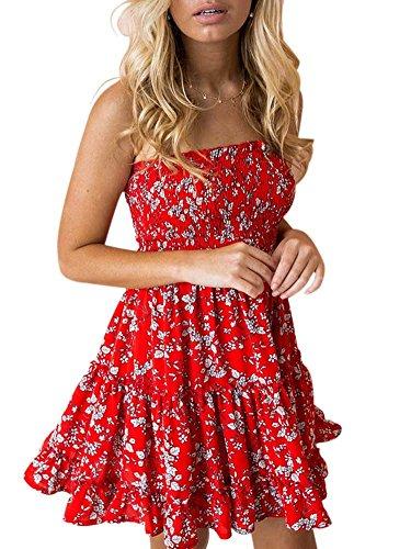 Tube Dress Juniors (KIRJAUDU Women's Junior Vintage Lemon Print Tube Top High Waist Mini Sundress Red White S)