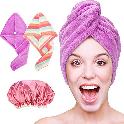 - Hair Towel Wrap, Microfiber Hair Towel, Quick Dry Hair Wrap Towels - Hair Drying Towels Turban For Wet Hair, Absorbent Hair-Drying Towel Wrap For Women Girls (Rainbow + Purple, 2 Pack) + Shower Cap