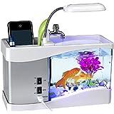 Minsell 卓上 ミニ 水族館 机の上で魚が飼える癒しアイテム 小物 サウンド 循環ポンプ 内蔵 ブラック USB LED 時計 クロック アラーム付き ライトアップ (ホワイト)