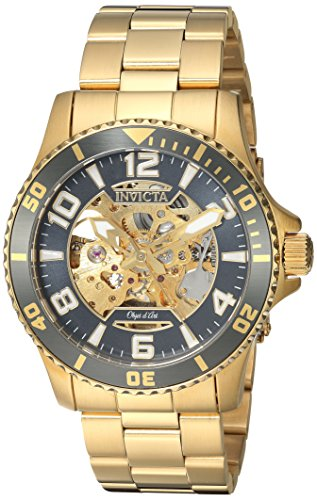 Invicta Men's Objet D Art Automatic-self-Wind Watch with Stainless-Steel Strap, Gold, 22 (Model: 22604) ()