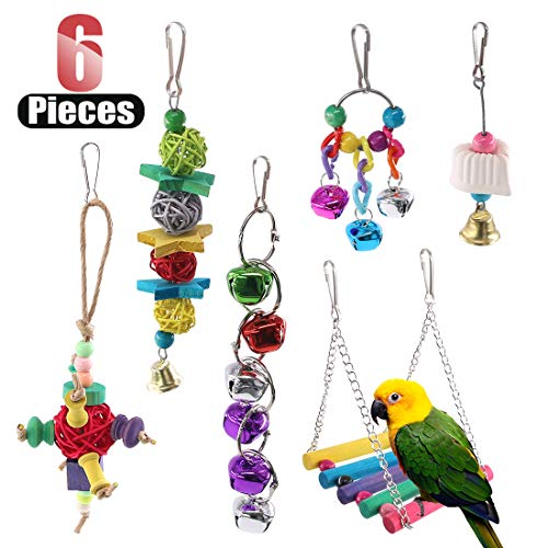 - Hilitchi 6 Pcs Birds Toys Hanging Hammock Bell Swing Chewing Toys for Parrots, Parakeet, Conure, Cockatiel, Mynah, Love Birds Small Parakeet Cages Decorative Accessories