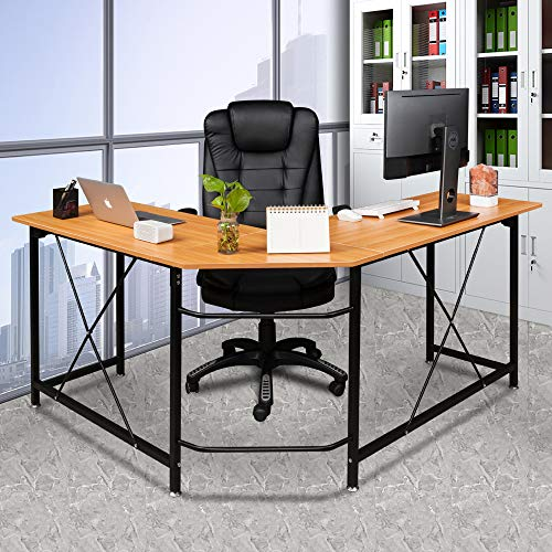Bonnlo Reversible L Shaped Desk Modern Home Office Corner Desk 3-Piece L-Shape Computer Desk with Reversible Tabletop Bagpack Hooks