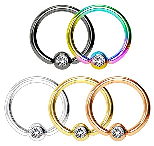6mm Titanium Ball Earrings (Forbidden Body Jewelry Super Value 5-Pack: 16g 6mm Surgical Steel Multi Color CBR Hoops with 3mm CZ Balls)