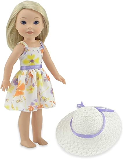 Flower print sundress fits Wellie Wishers and other 14 inch dolls.