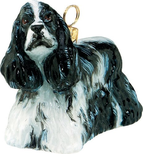 (Black and White Cocker Spaniel Dog Polish Glass Christmas Ornament Decoration)