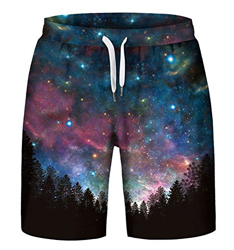 NAYINLAN Men's 3D Galaxy Print Casual Rave Flat Front Shorts,L/XL -